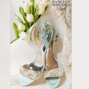 Badgley Mischka Satin Kitten Heel Wedding Sandal